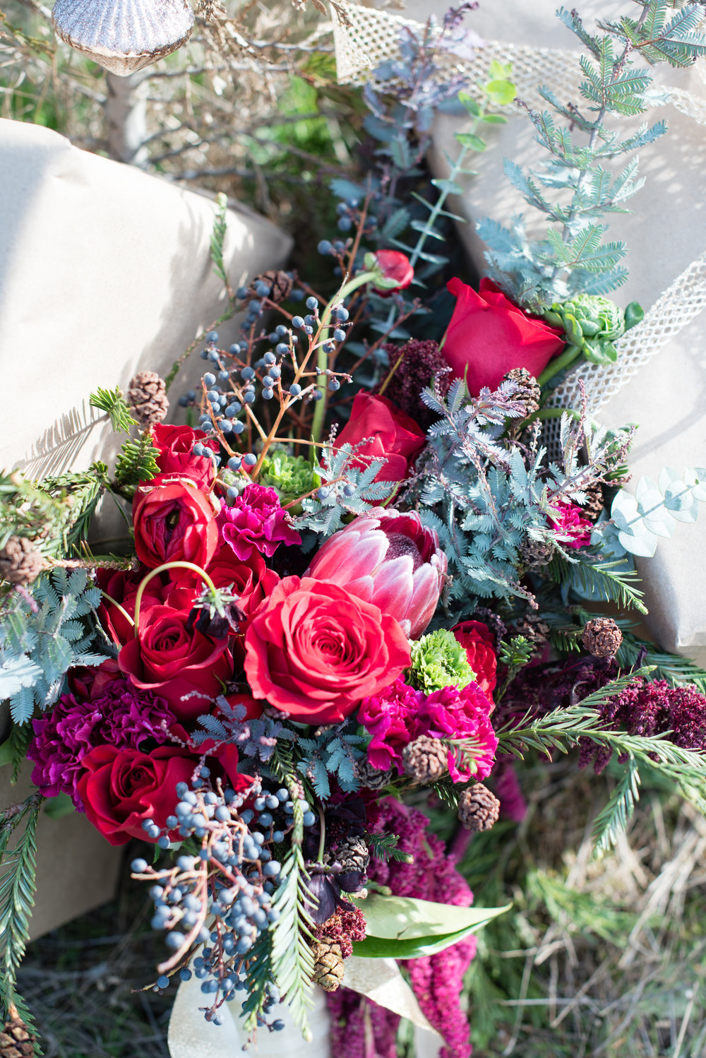 www.santabarbarawedding.com | Carrie Pollard | Church's Christmas Trees | Bouquet