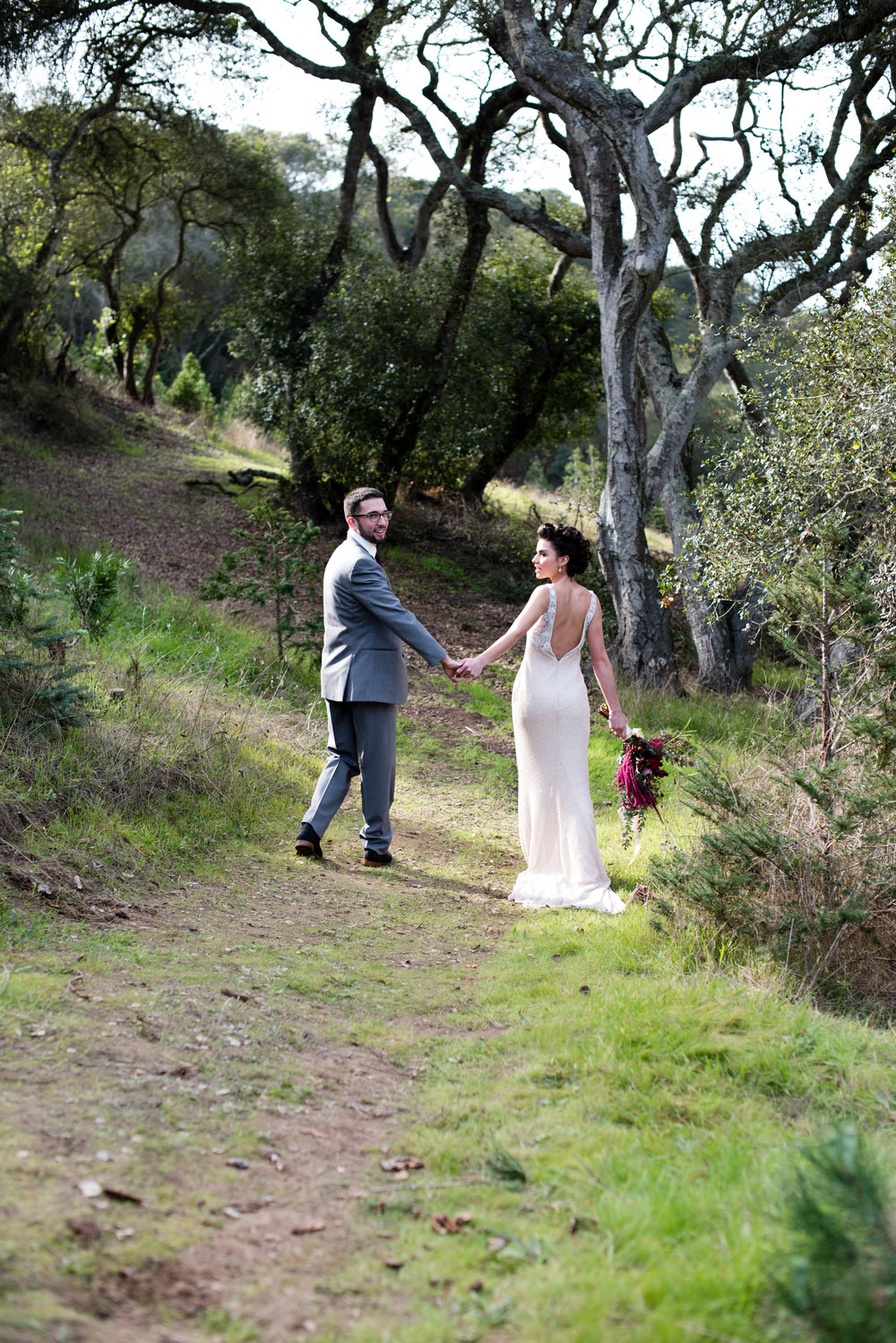 www.santabarbarawedding.com | Carrie Pollard | Church's Christmas Trees | Bride and Groom