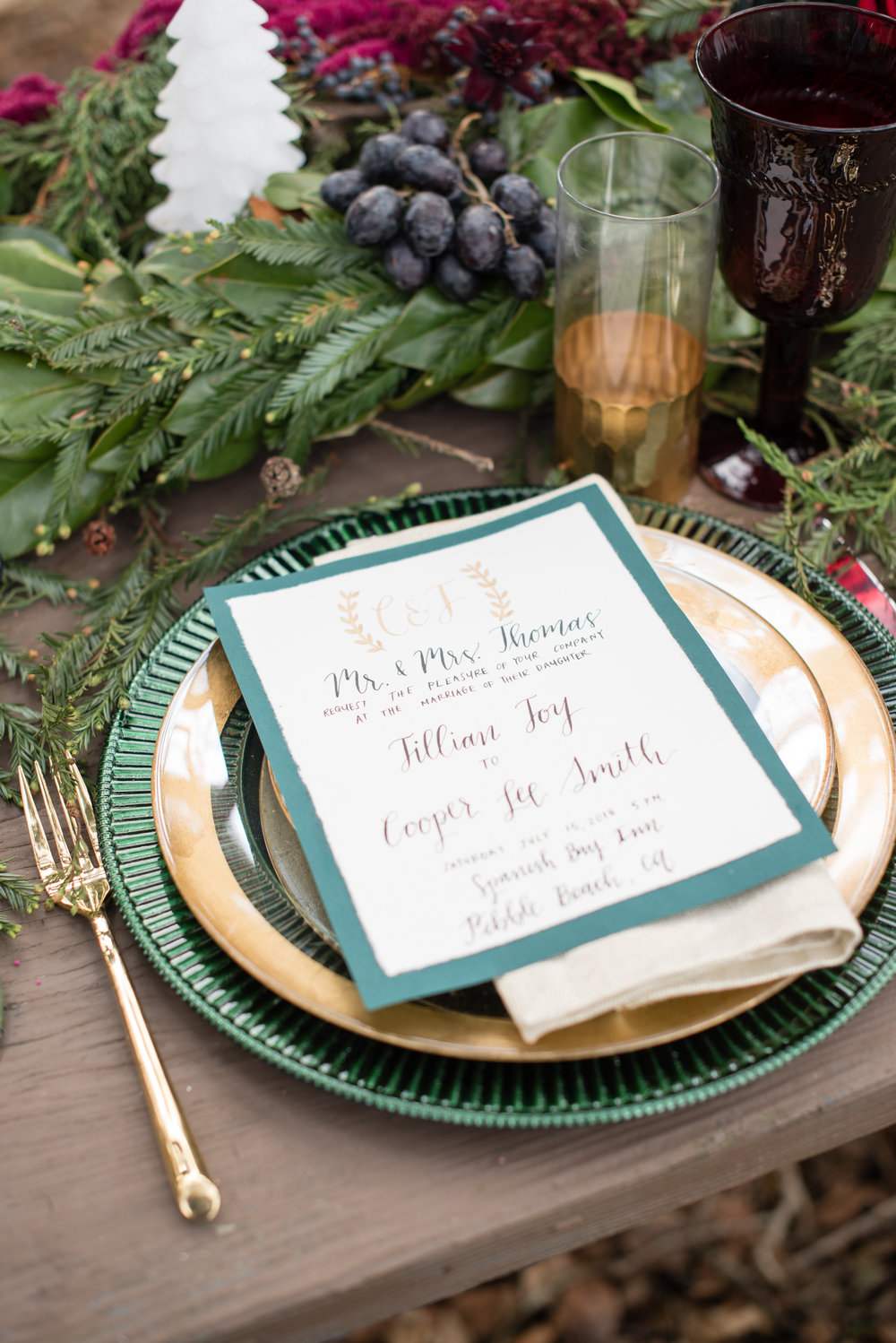 www.santabarbarawedding.com | Carrie Pollard | Church's Christmas Trees | Place Setting