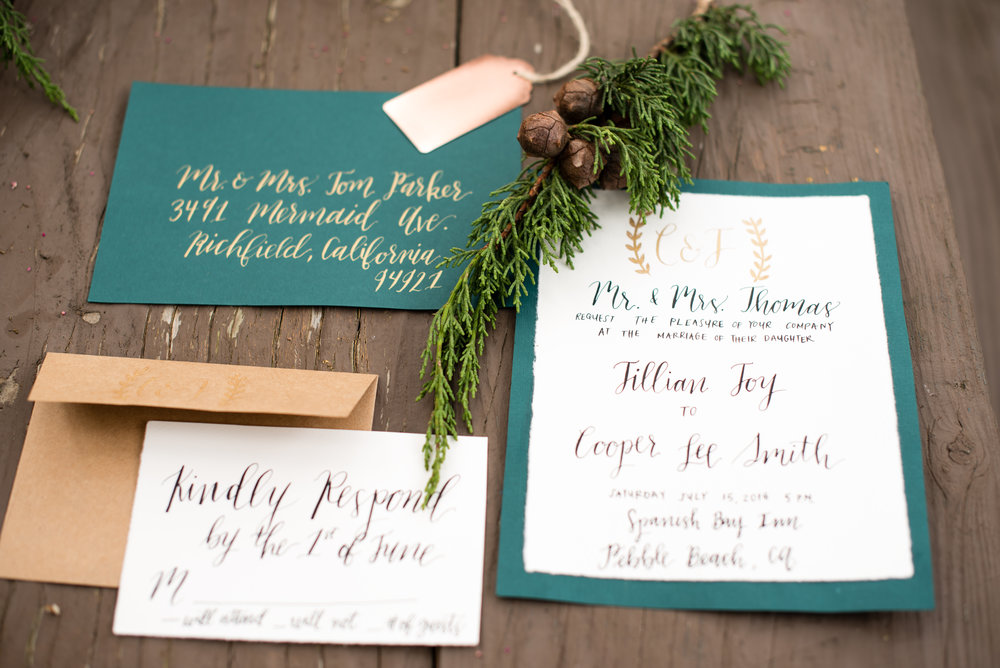 www.santabarbarawedding.com | Carrie Pollard | Church's Christmas Trees | Wedding Invitations