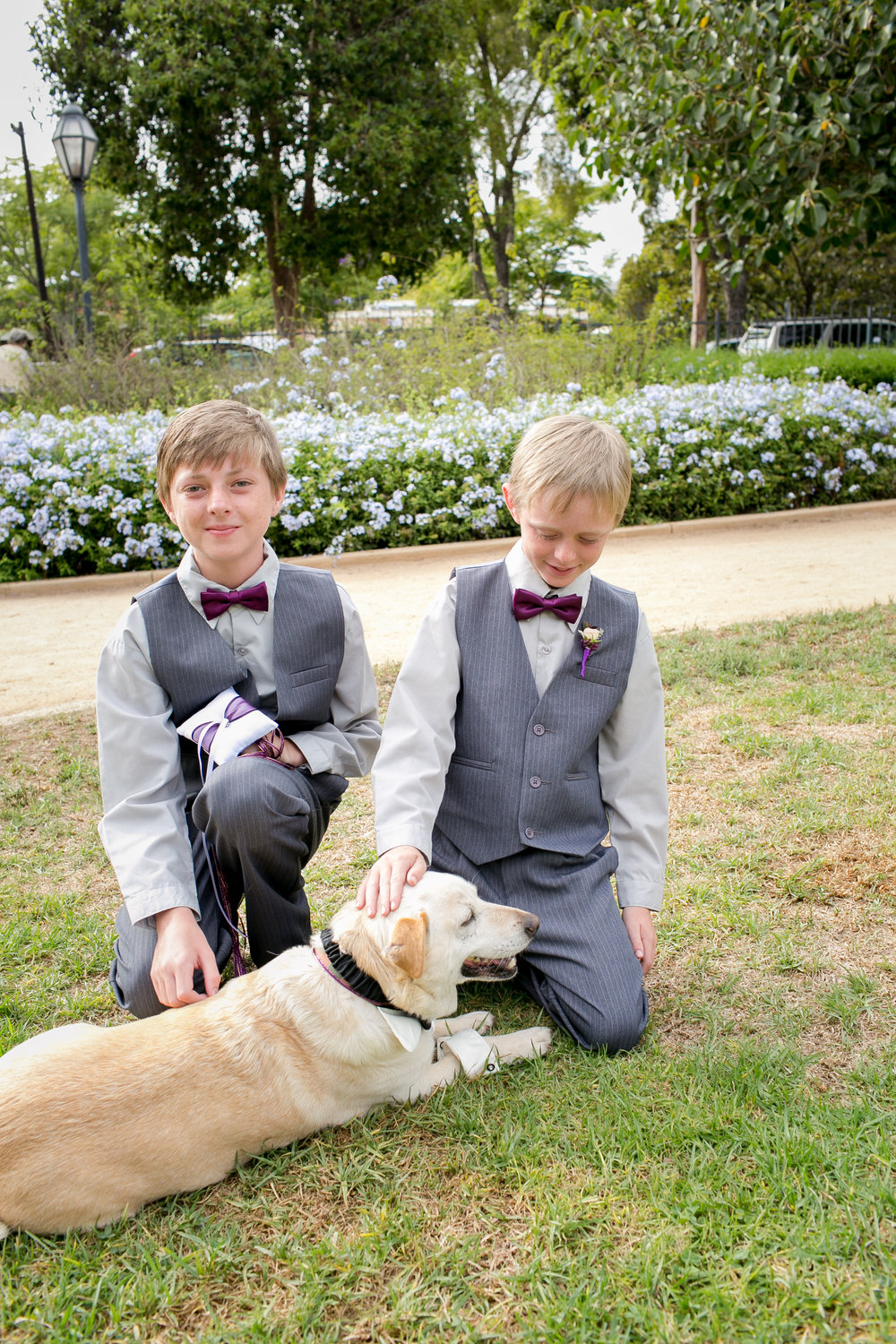 www.santabarbarawedding.com | Kelsey Crews | Felici Events | Alice Keck Park | Ring Bearers and Dog