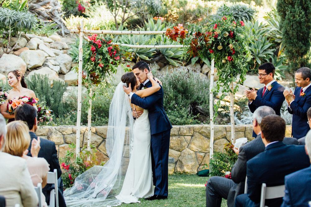 www.santabarbarawedding.com   Jihan Cerda   Villa Verano   Ceremony Kiss