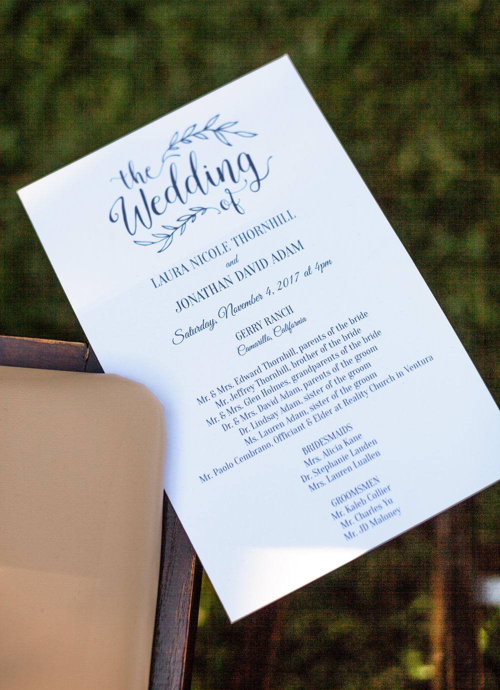 www.santabarbarawedding.com | Cameron Jordan Artistry | Gerry Ranch | Wedding Program