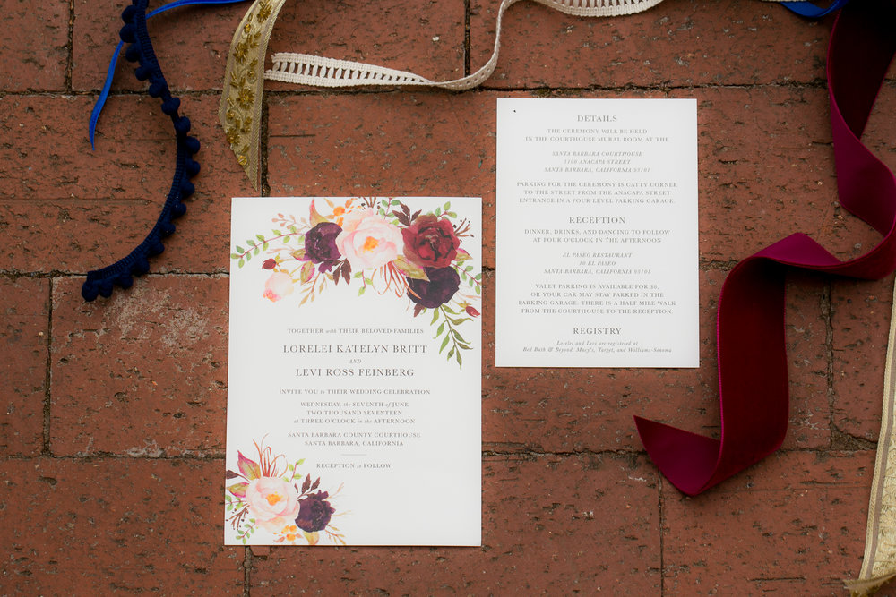 www.santabarbarawedding.com | Boone & Stacie Weddings | Santa Barbara Courthouse | El Paseo | Invitations