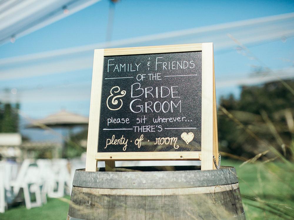 www.santabarbarawedding.com | Santa Barbara Zoo | Kiel Rucker | Rincon Catering | Chalk Wedding Sign