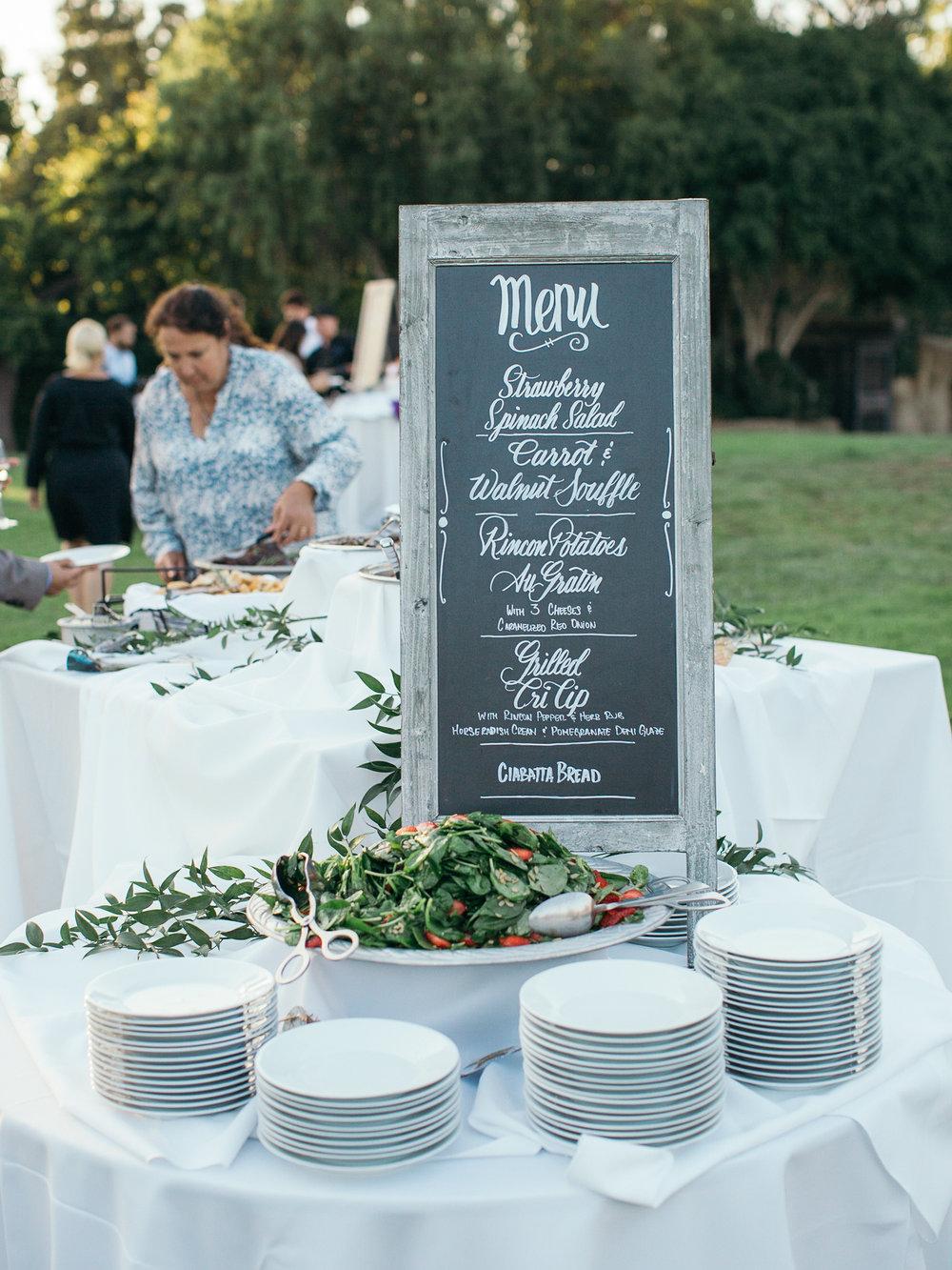 www.santabarbarawedding.com | Santa Barbara Zoo | Kiel Rucker | Rincon Catering | Reception Dinner Menu