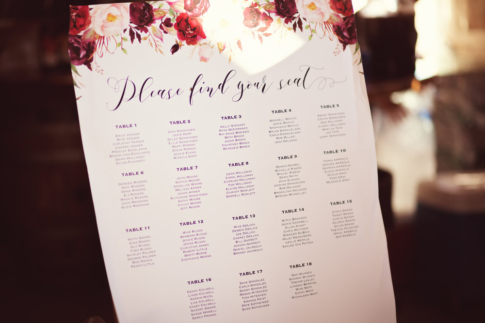 www.santabarbarawedding.com | Kay Mitchell Photography | Madonna Ranch | Seating Chart