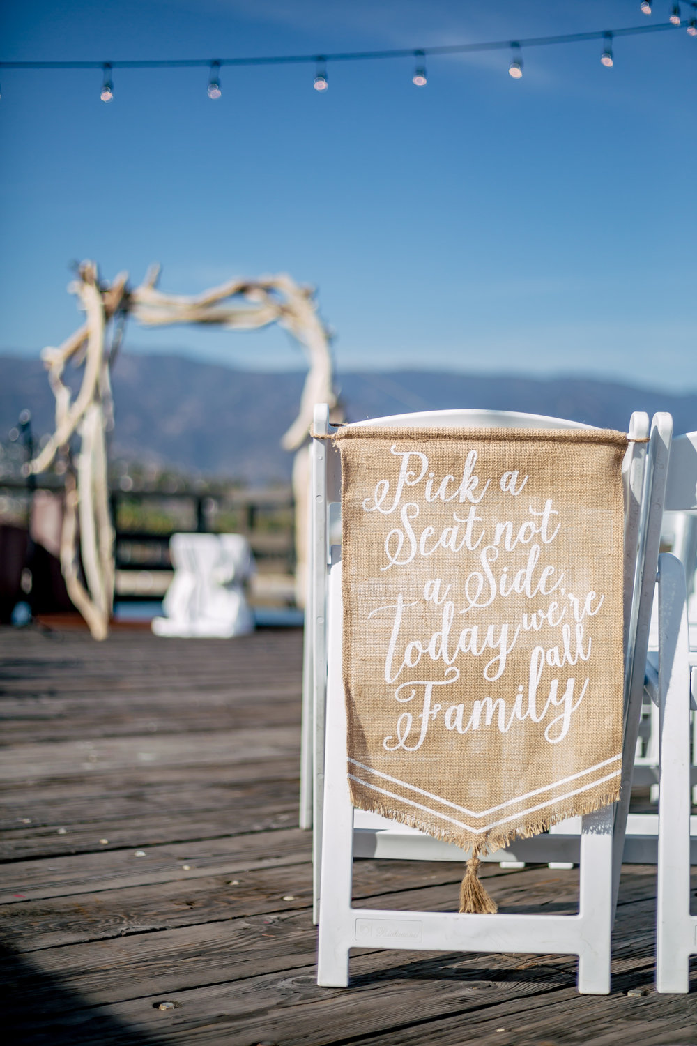 www.santabarbarawedding.com | Rewind Photography | Santa Barbara Sea Center | Events by Fran | Ceremony Sign