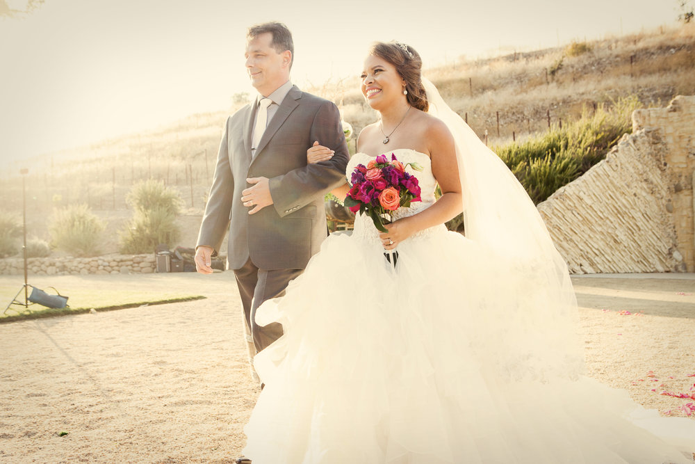 www.santabarbarawedding.com | Josh Goodman | Sunstone Winery | Bride Walking Down Aisle