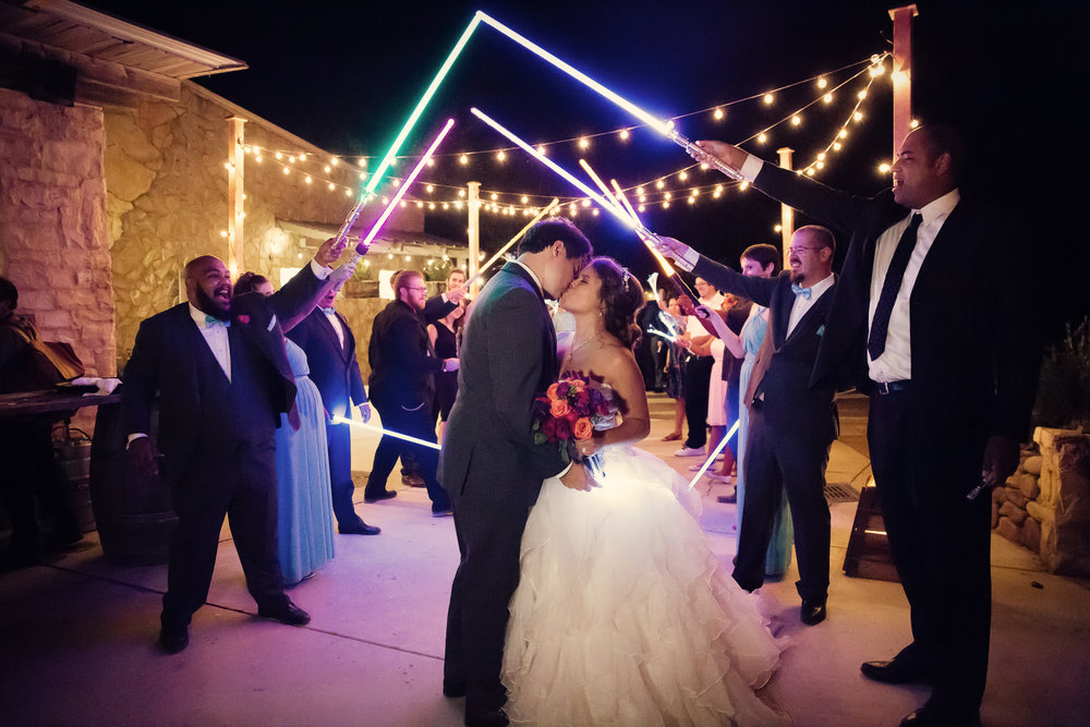 www.santabarbarawedding.com | Josh Goodman | Sunstone Winery | Light Saber Exit