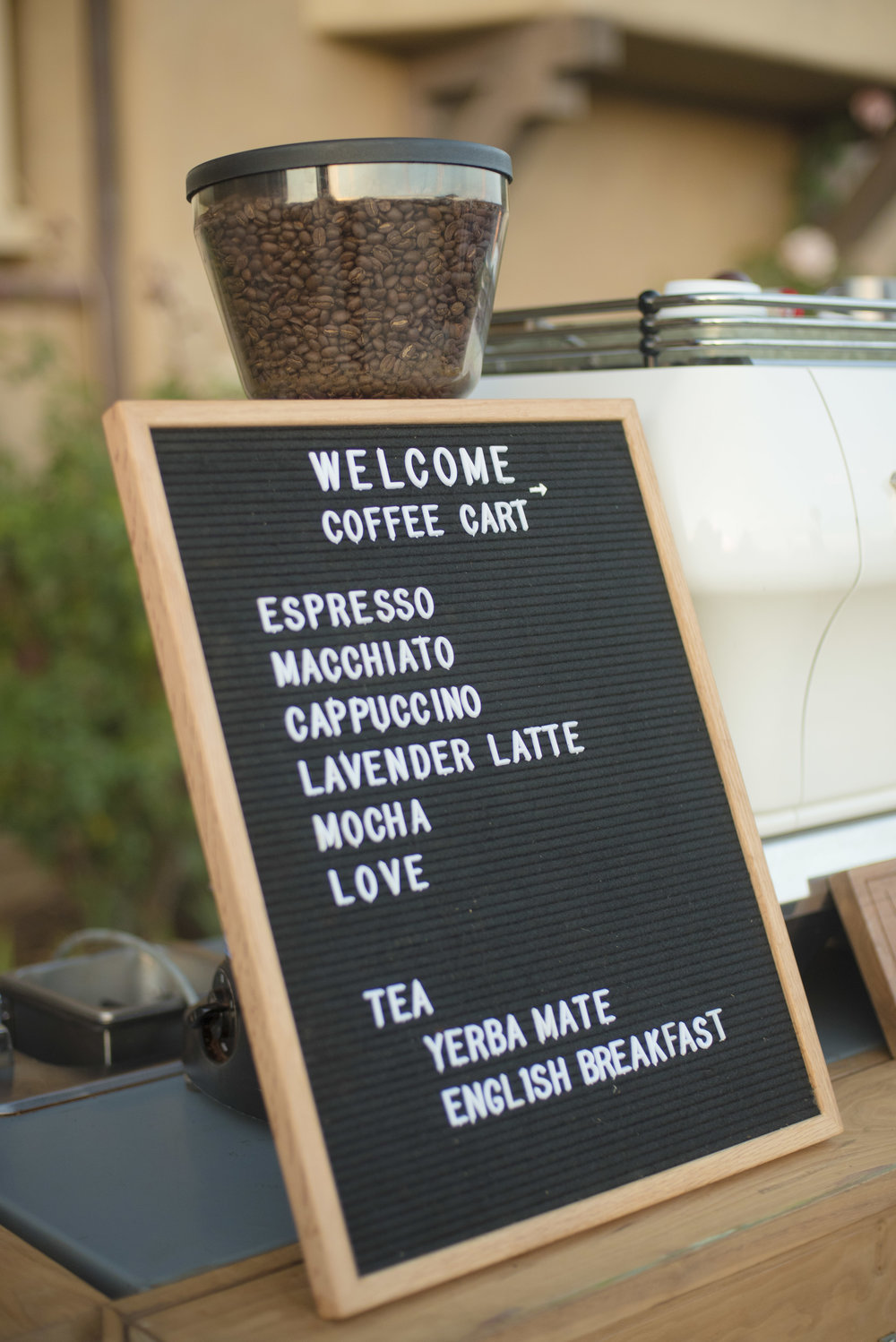 www.santabarbarawedding.com | ByCherry Photography | HeartStone Ranch | Coffee Cart