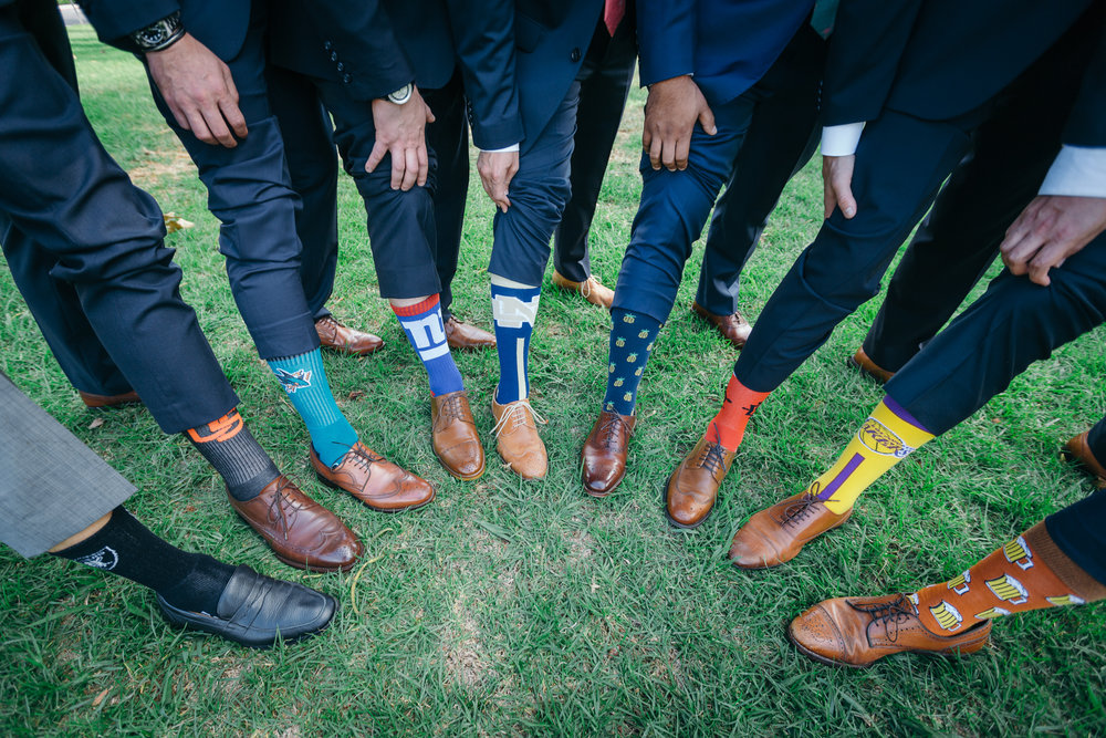 www.santabarbarawedding.com | Kiel Rucker | Riviera Mansion | Groomsmen's Socks