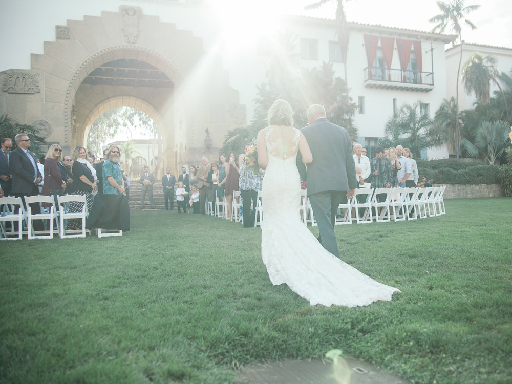 www.santabarbarawedding.com | Kiel Rucker | Riviera Mansion | Bride and Father Walking down Aisle