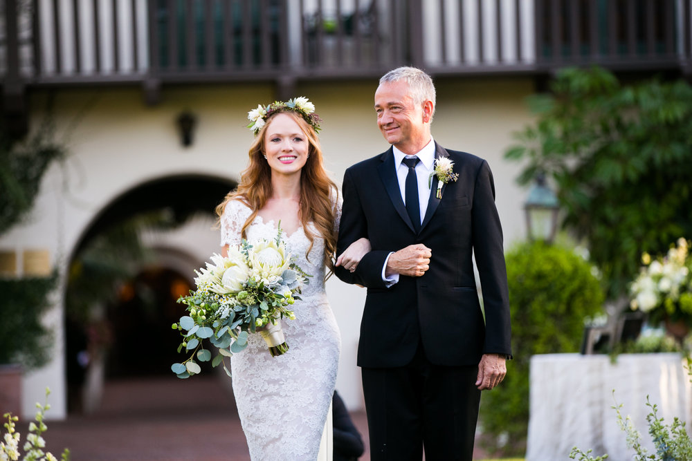 www.santabarbarawedding.com | Four Seasons Santa Barbara | Levine Fox Events | Callaway Gable Photo | Bride and Father Walking Down Aisle