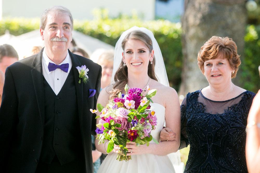www.santabarbarawedding.com | Philip Van Nostrand | Riviera Mansion | Bride and Parents Walking Down the Aisle