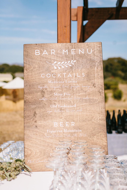 www.santabarbarawedding.com | Jodee Debes | Dos Pueblos Orchid Farm | Drink Menu