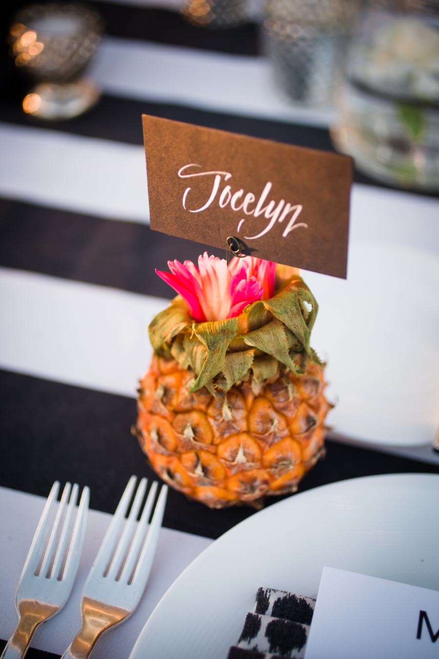 www.santabarbarawedding.com | Ann Johnson Events | Jessica Lewis | The Biltmore | Pineapple Name Card Holder