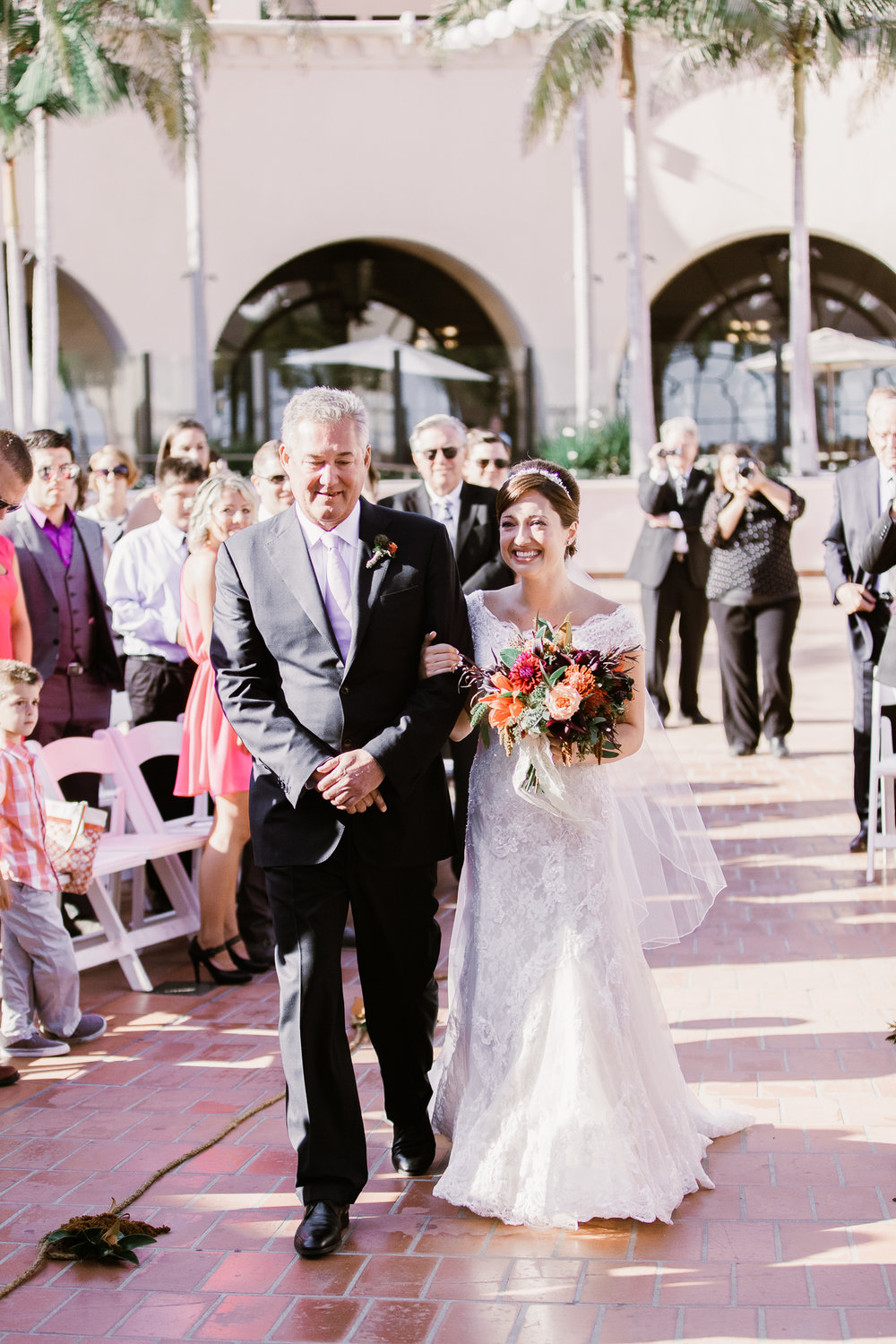 www.santabarbarawedding.com | Clarissa Koenig | Felici Events | Hilton Santa Barbara Beachfront Resort | Bride and Father Walking Down Aisle