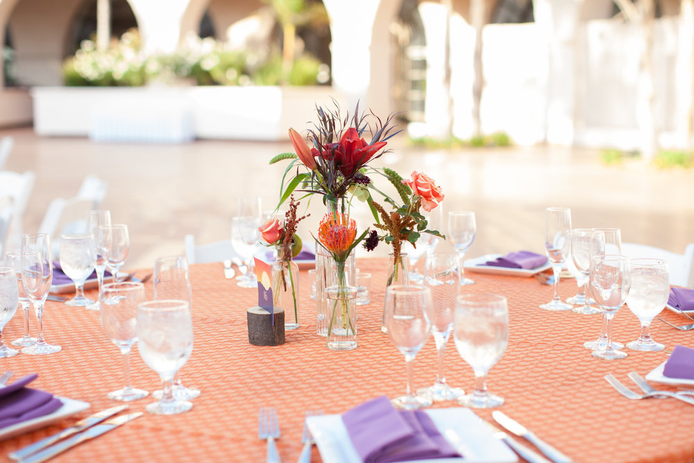 www.santabarbarawedding.com | Clarissa Koenig | Felici Events | Hilton Santa Barbara Beachfront Resort | Reception Table