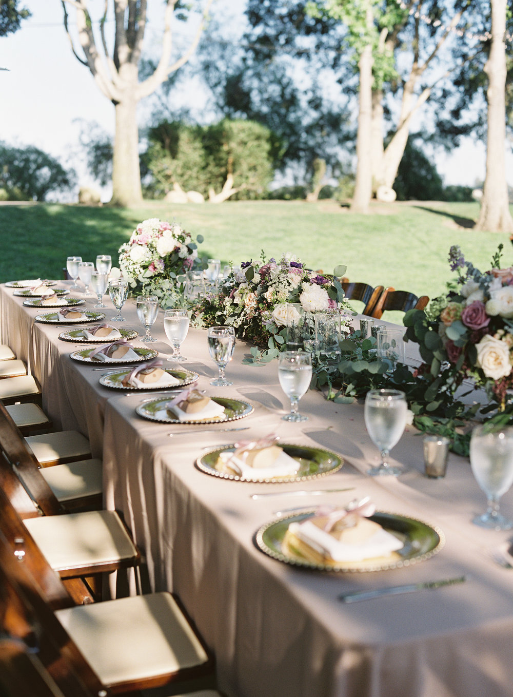 www.santabarbarawedding.com | Trinity Episcopal Church | Elings Park | Sarah Weir | Burlap & Bordeaux | Reception Tables