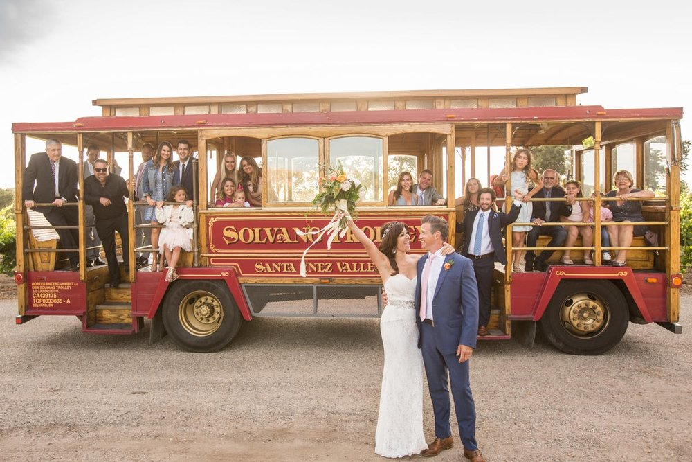 www.santabarbarawedding.com | Anna J Photography | Alegria by Design | Firestone Vineyard | Trolley