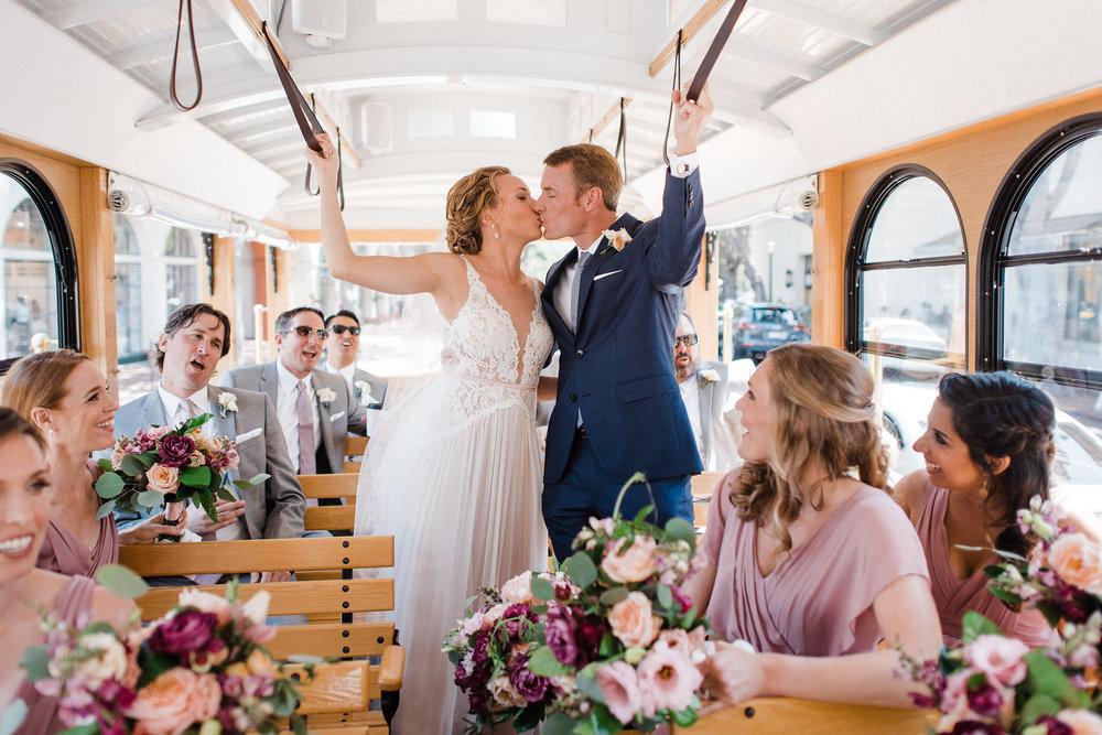www.santabarbarawedding.com | Canary Hotel | Grace Kathryn Photography | Bridal Party | Trolley