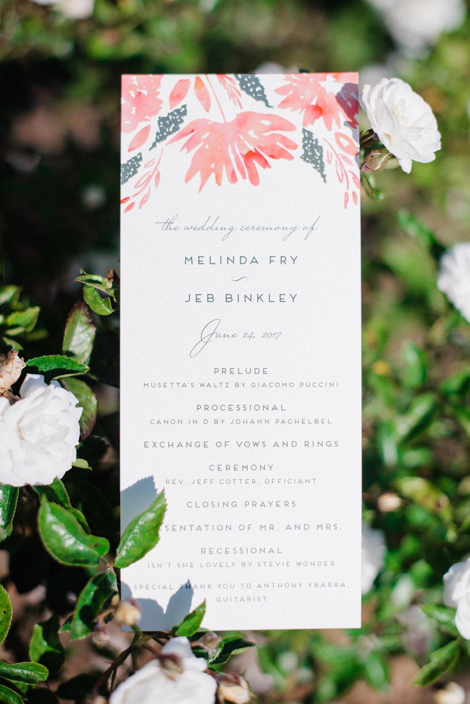www.santabarbarawedding.com | Canary Hotel | Grace Kathryn Photography | Wedding Program
