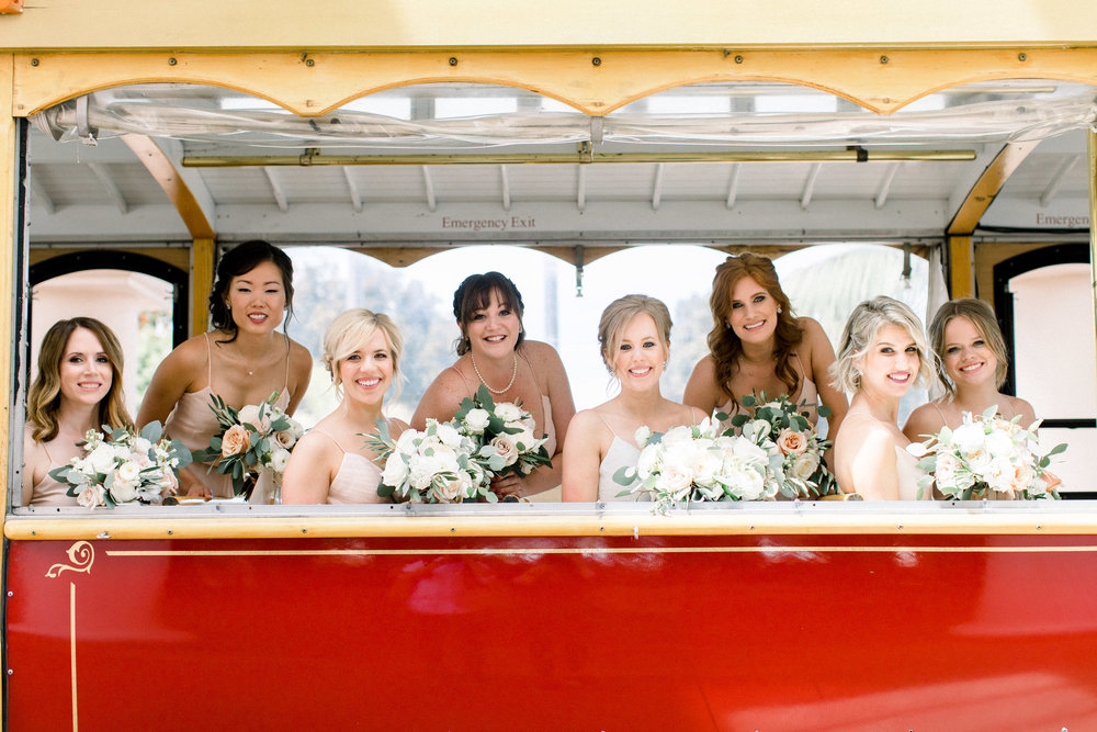 www.santabarbarawedding.com | Jenny Quicksall | Santa Barbara Club | Bluebell Events | Bridesmaids and Trolley