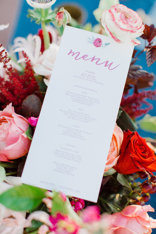 www.santabarbarawedding.com | Grace Kathryn Photography | Santa Barbara Courthouse | Canary Hotel | Amazing Days Events | Dinner Menu