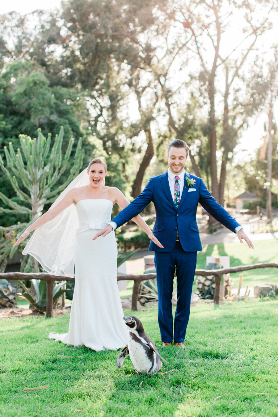 www.santabarbarawedding.com | Laura Ford Photos | Santa Barbara Zoo | Rincon Events | Bride and Groom and Penguin