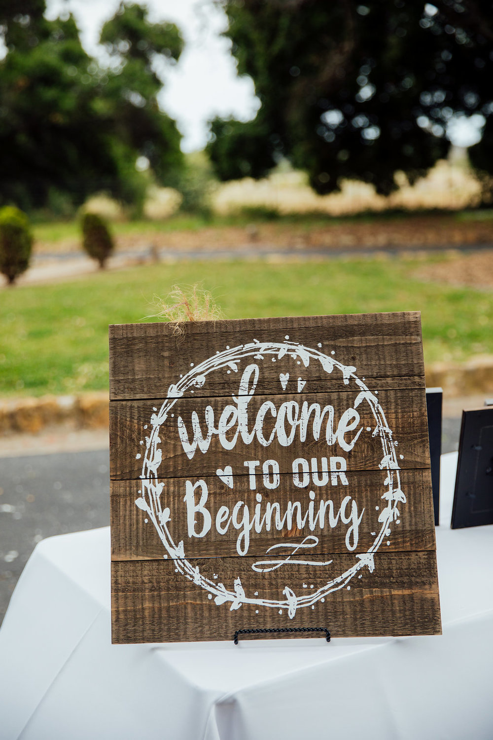 www.santabarbarawedding.com | Just Kiss Collective | Rancho La Patera & Stow House | Wedding Sign
