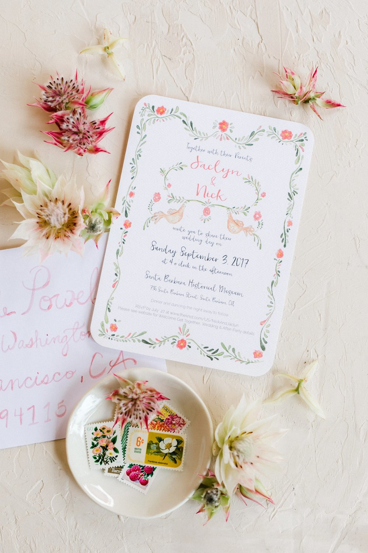 www.santabarbarawedding.com   Anna Delores   Santa Barbara Historical Museum   Wedding Invitations