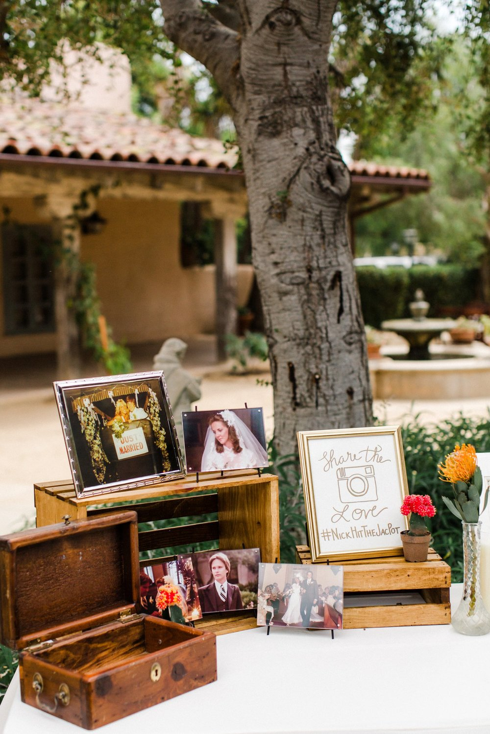 www.santabarbarawedding.com | Anna Delores | Santa Barbara Historical Museum | Picture and Card Table