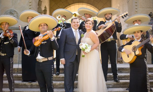 www.santabarbarawedding.com | Philip Van Nostrand | Bride and Groom and Mariachi Band