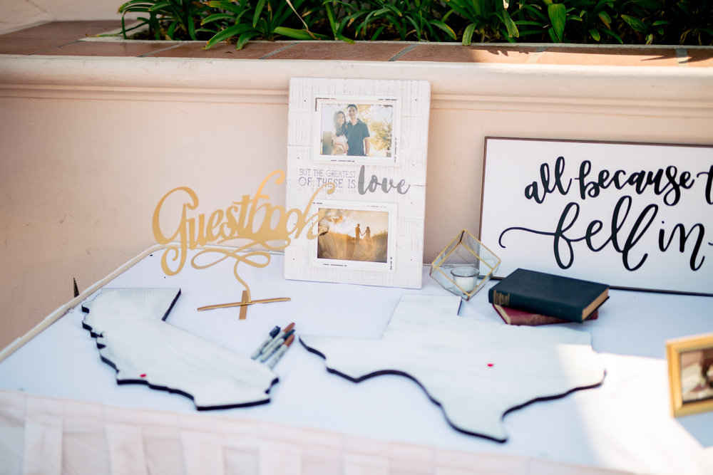 www.santabarbaraweddingstyle.com | Rewind Photography | Events by M and M | Hilton Santa Barbara | Guest Sign In Table