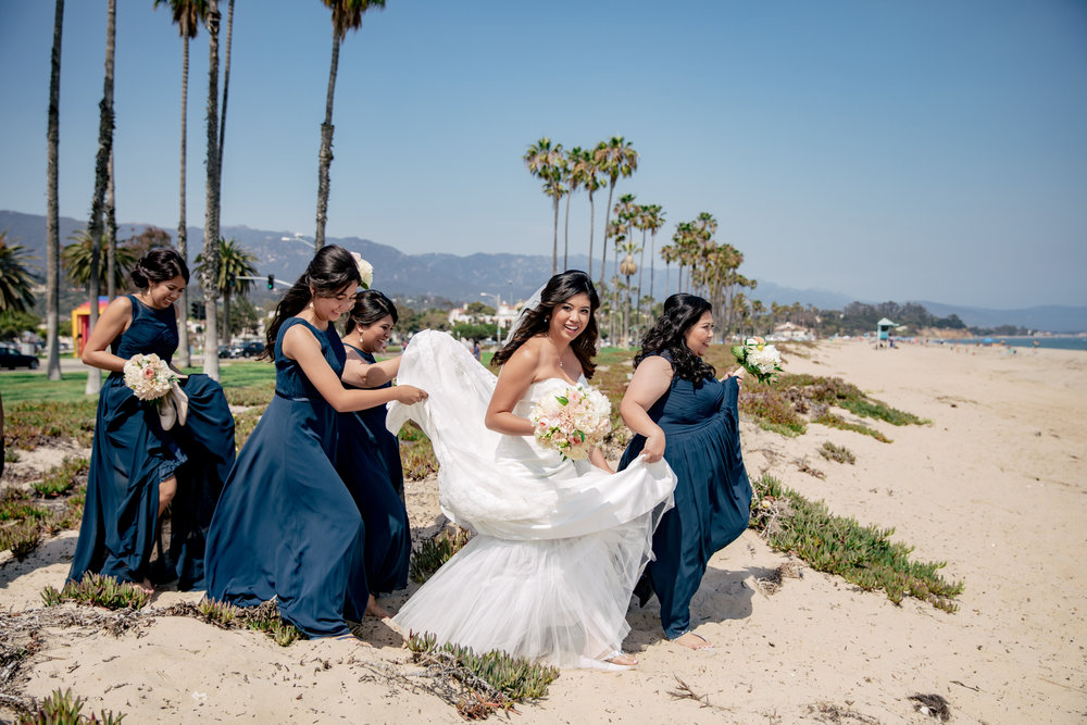 www.santabarbaraweddingstyle.com | Rewind Photography | Events by M and M | Hilton Santa Barbara | Bridesmaids and Bride