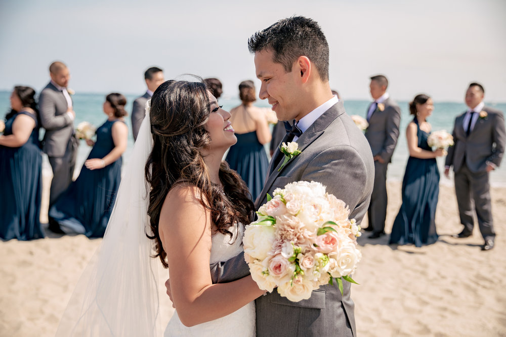 www.santabarbaraweddingstyle.com | Rewind Photography | Events by M and M | Hilton Santa Barbara | Bride and Groom