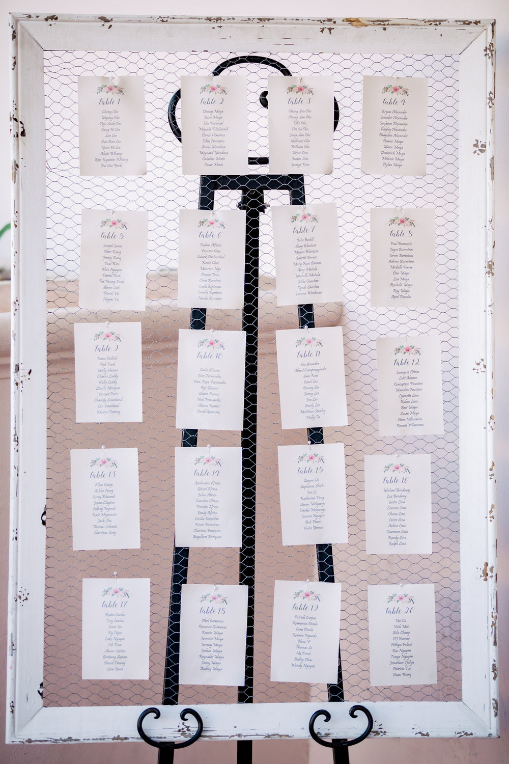 www.santabarbaraweddingstyle.com | Rewind Photography | Events by M and M | Hilton Santa Barbara | Seating Chart