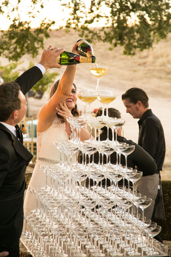 www.santabarbarawedding.com | A Perfect Day Wedding & Event Design | A. Blake Photography | Champagne Tower