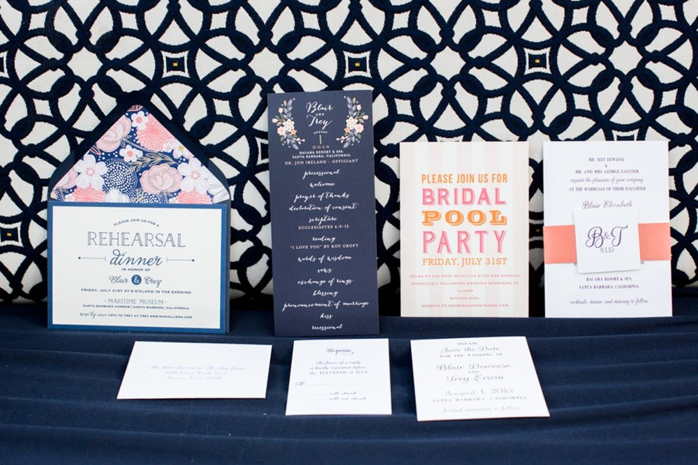www.santabarbarawedding.com | Bacara Resort | Alegria by Design | Michael + Anna Costa | Wedding Invitations