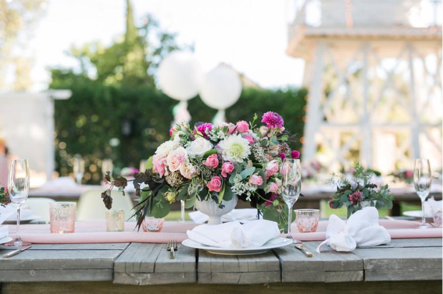 margaret joan floral pink centerpiece mattei's tavern
