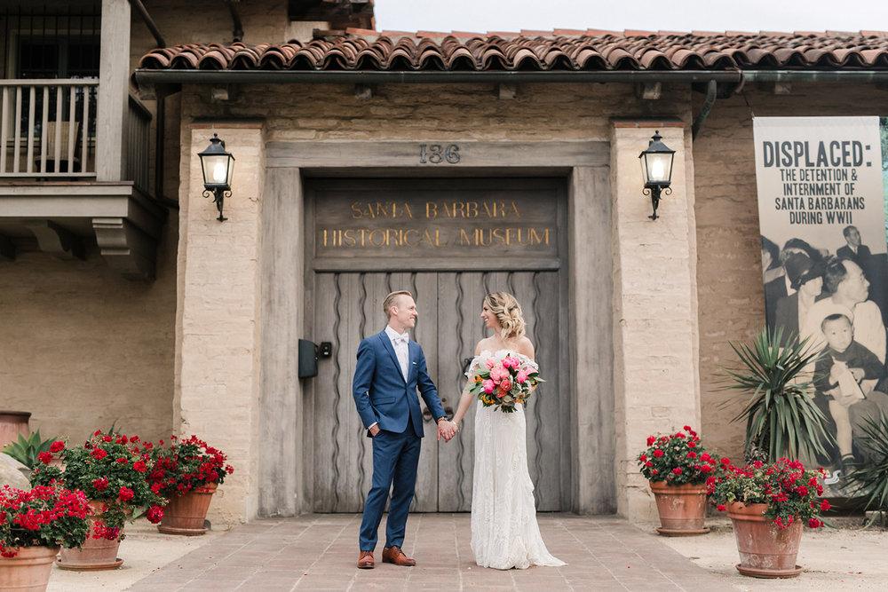 www.santabarbarawedding.com | Santa Barbara Historical Museum | Events by Rachel Korrey | Anna Delores | Bride and Groom