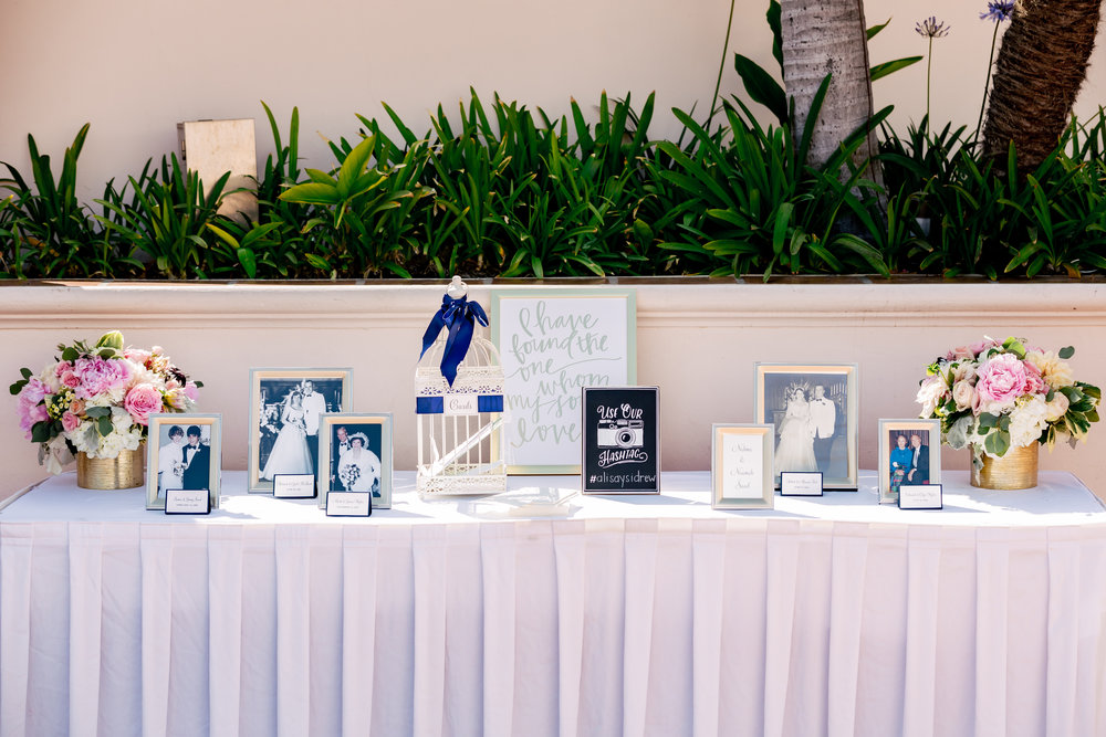 www.santabarbarawedding.com | Rewind Photography | Hilton Santa Barbara Beachfront Resort | Events by M and M | Guest Sign In Table