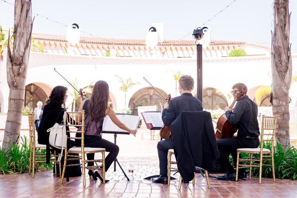 www.santabarbarawedding.com | Rewind Photography | Hilton Santa Barbara Beachfront Resort | Events by M and M | String Quartet