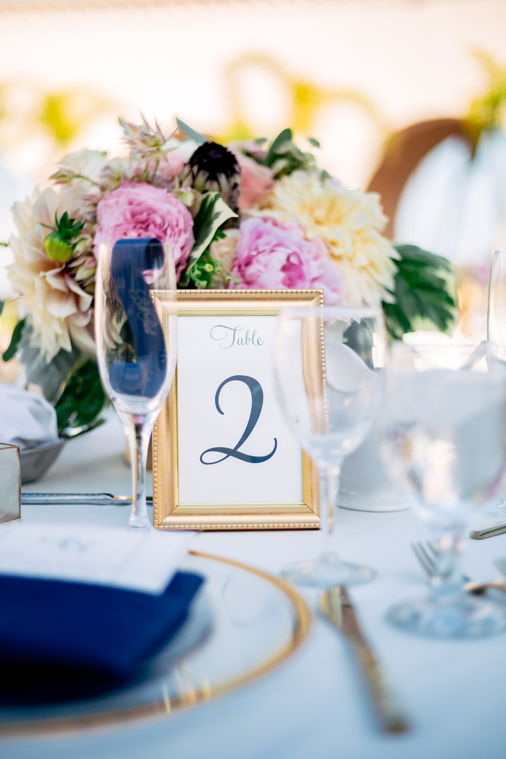 www.santabarbarawedding.com | Rewind Photography | Hilton Santa Barbara Beachfront Resort | Events by M and M | Reception table numbers