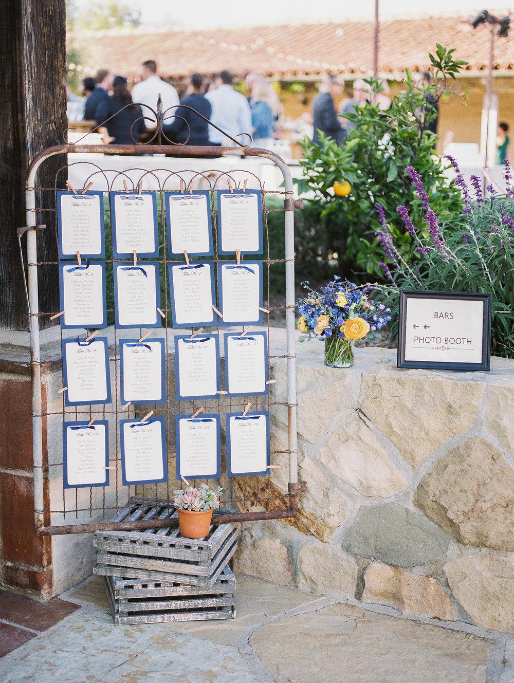 www.santabarbarawedding.com | Grace Kathryn | Santa Barbara Historical Museum | Seating Chart