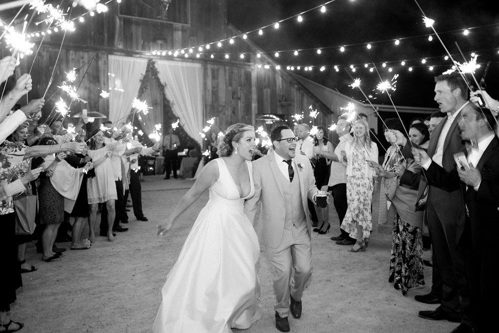 www.santabarbarawedding.com | Mike Larson | Islay Events | Greengate Ranch | Sparkler Exit | Bride and Groom
