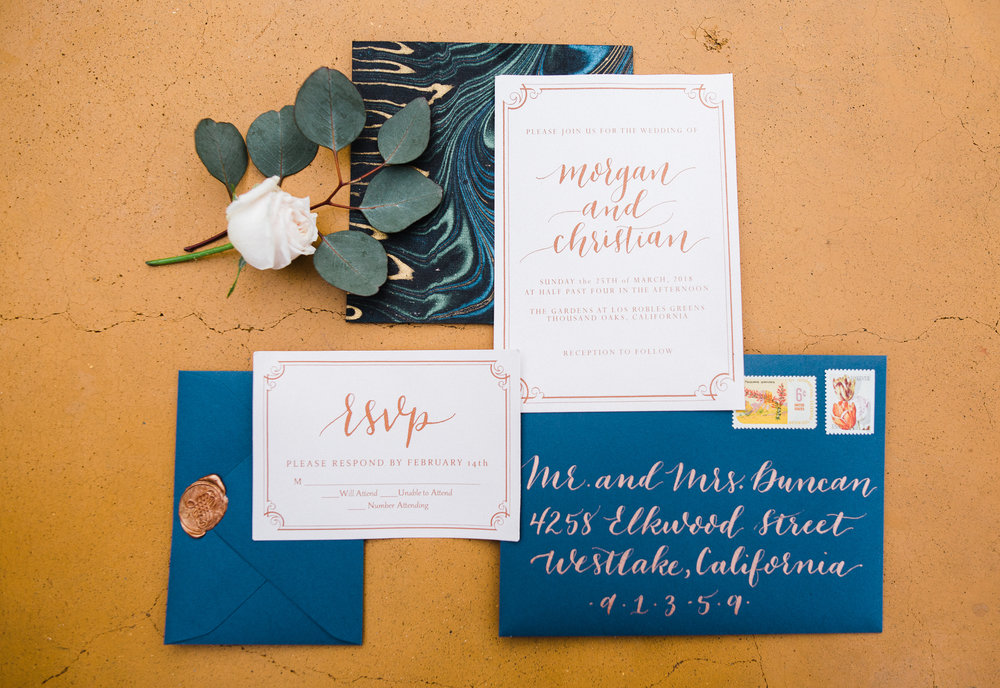 www.santabarbarawedding.com | Los Robles Greens | Besame Floral Events | Rachel Birkhofer | Styled Shoot | Invitations