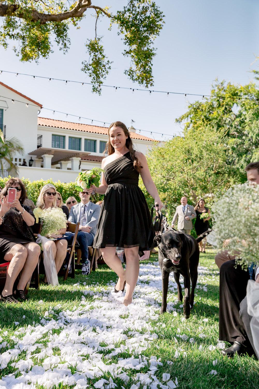 www.santabarbarawedding.com | Rewind Photography | Alegria by Design | Santa Barbara Club | Ceremony | Dog