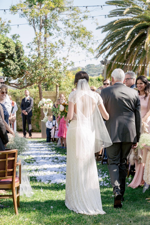 www.santabarbarawedding.com | Rewind Photography | Alegria by Design | Santa Barbara Club | Bride and Father Walking Down Aisle
